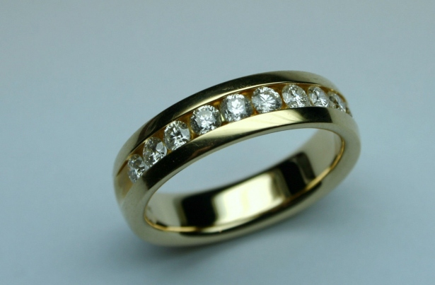Inel Aur 14k Cu Diamante Pentru Barbati Barbatesc Verigheta Aur