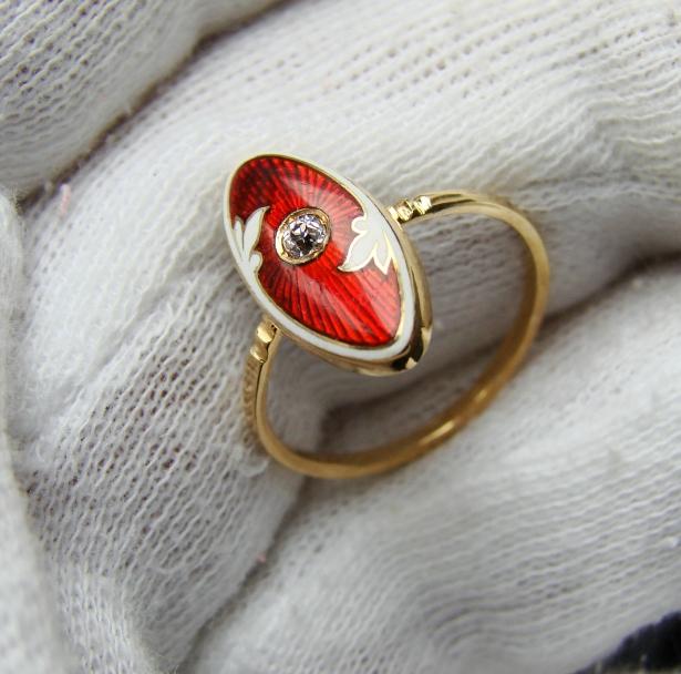 unicat victorian inel aur 15k cu email si diamant