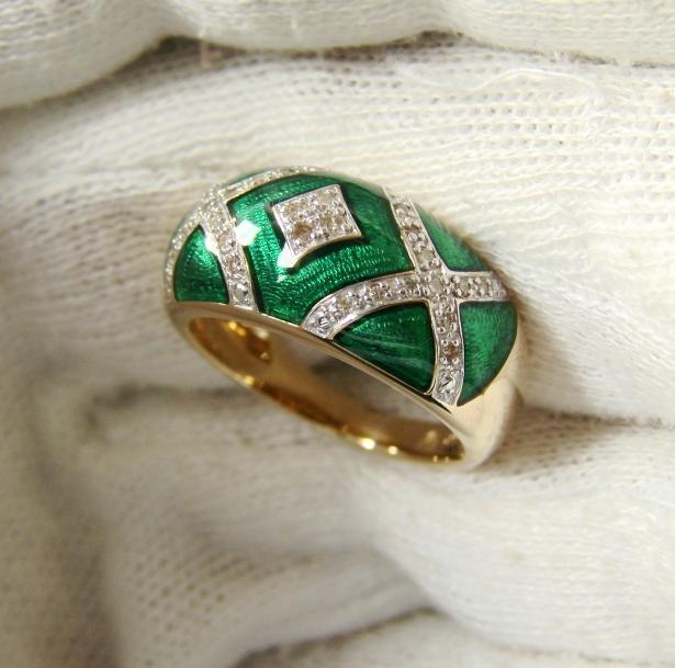 inel aur 14k cu diamante si email verde