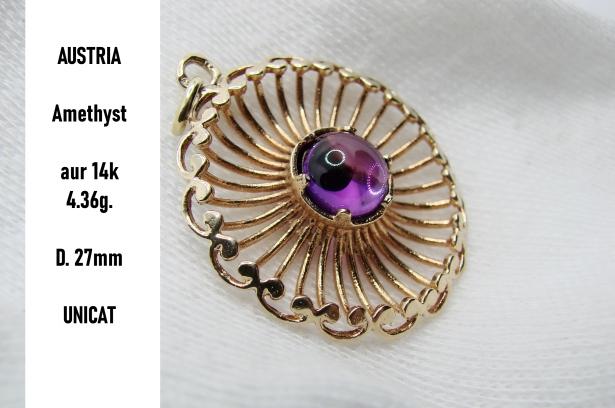 pandantiv amuleta aur 14k cu amethyst ametist