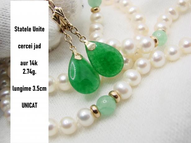 cercei aur 14k cu jad jadeit unicat