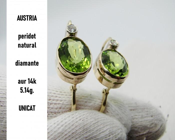 cercei aur 14k cu peridot si diamante austria