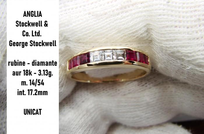 inel aur 18k cu diamante si rubine