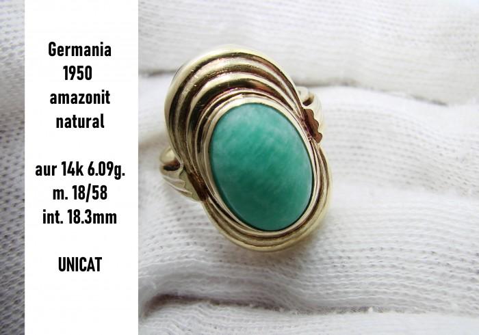Unicat Inel Aur 14K Cu Amazonit natural