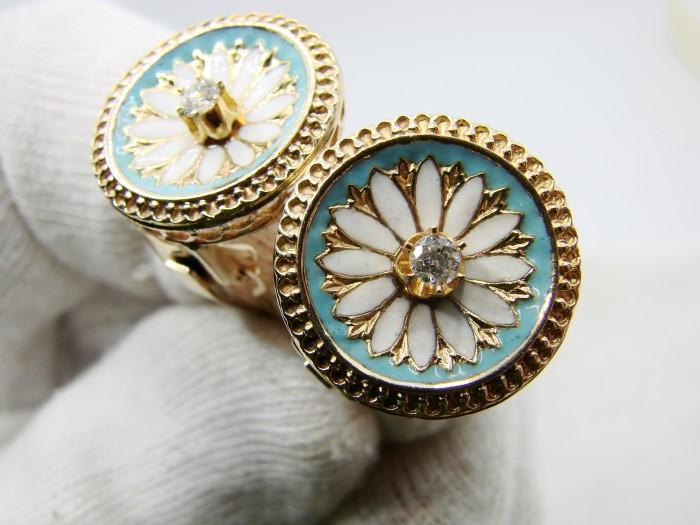 Cercei Aur 14K Cu Email Champleve  si Diamante