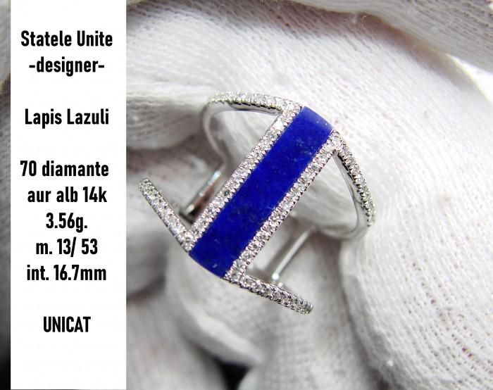 inel aur alb 14k cu lapis lazuli si diamante