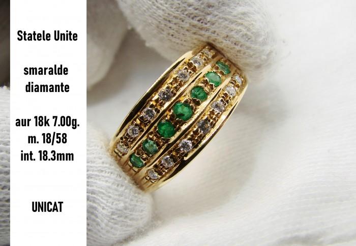 inel aur 18k cu smaralde si diamante