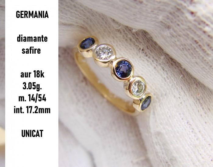 inel Aur 18K Jubilee Cu safire Si Diamante