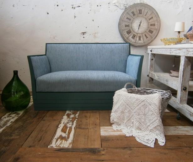 Canapea veche din lemn, stil Art Deco (Mobila Divan)