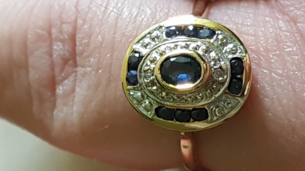 Inel aur 18k cu safire naturale si diamante naturale