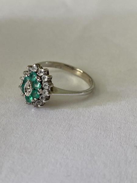 Inel 14 k smaralde și diamante naturale