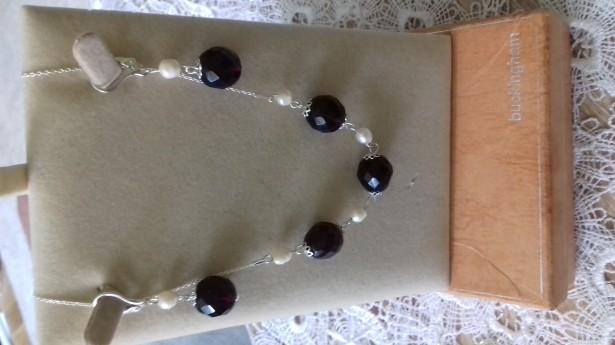 Set unicat Argint 925 Cu Anturaj Granat Și Perle
