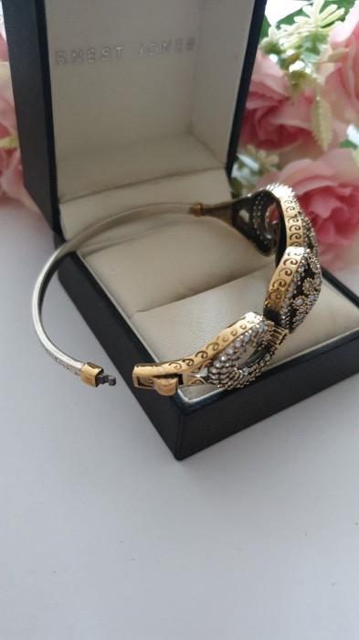 Rezervat!Brățară din argint 925 aurit cu safir și zirconii