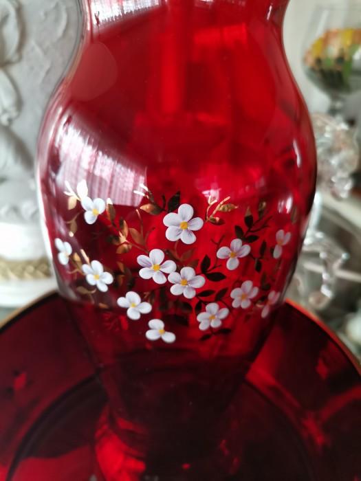 Vaza și fructiera cristal Murano rosu