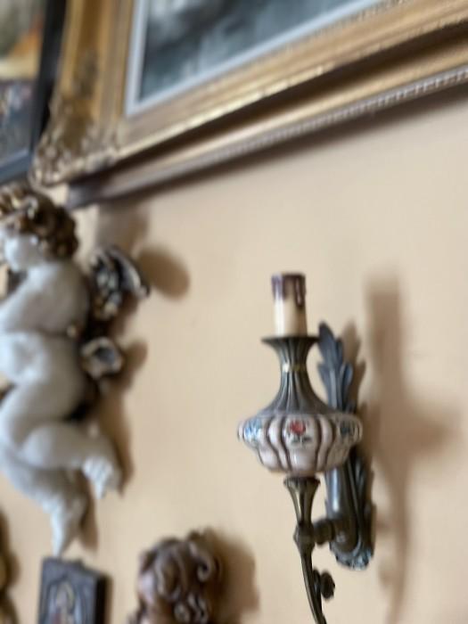 Superb set doua aplice, foarte vechi, portelan Bassano